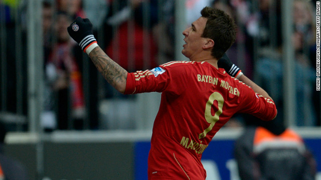 Mario Mandzukic celebrates a goal during Bayern Munich's 2-0 win over Greuther Furth.