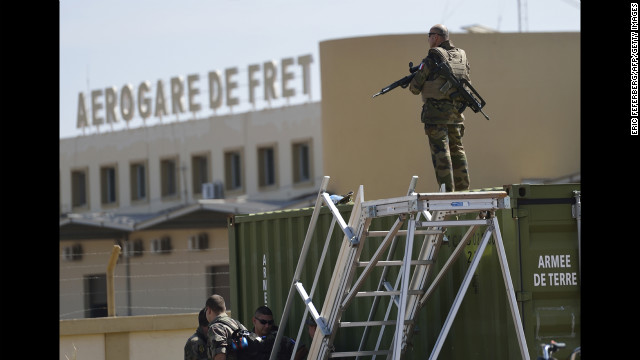 A French soldier from the helicopter regiment stands guard at the airbase on January 19.