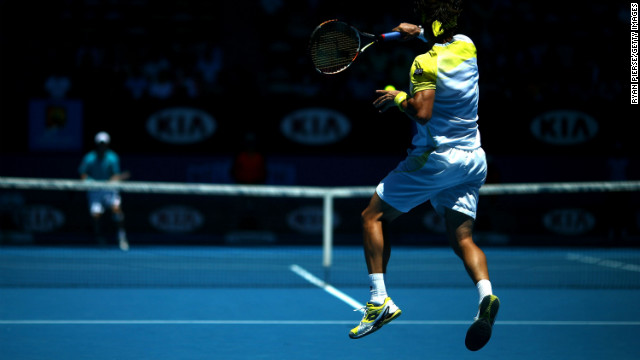 Ferrer plays a forehand against Nishikori on January 20.