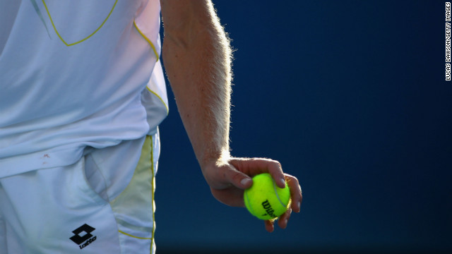Kevin Anderson of South Africa prepares to serve in his fourth-round match against Tomas Berdych of the Czech Republic on January 20. Berdych won 6-3, 6-2, 7-6 (13).