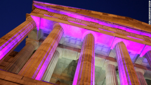 The Smithsonian's Donald W. Reynolds Center for American Art and Portraiture is decoratively lit for the 2013 Inaugural Youth Ball on Saturday, January 19, in Washington.