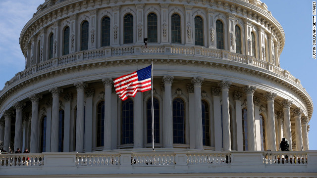 An American flag waves at the U.S. Capitol building on January 20 as Washington prepares for Obama's second inauguration.