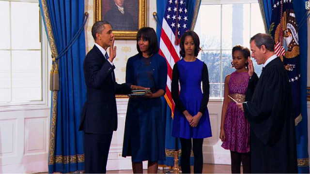 Quick ceremony marks start of Obama's second term