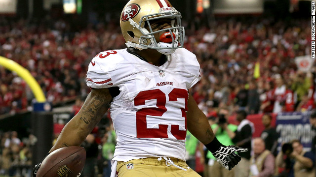 Running back LaMichael James of the 49ers celebrates his touchdown against the Falcons.