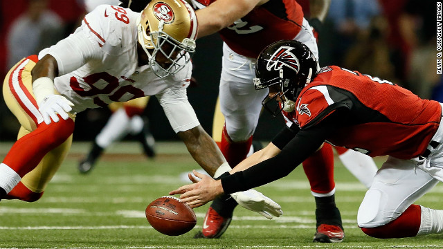 Falcons quarterback Matt Ryan fumbles the ball. It was recovered by No. 99 Aldon Smith of the San Francisco 49ers.