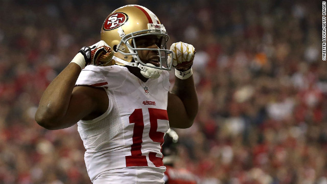 Michael Crabtree of the San Francisco 49ers celebrates after scoring against the Atlanta Falcons in the NFC Championship game.