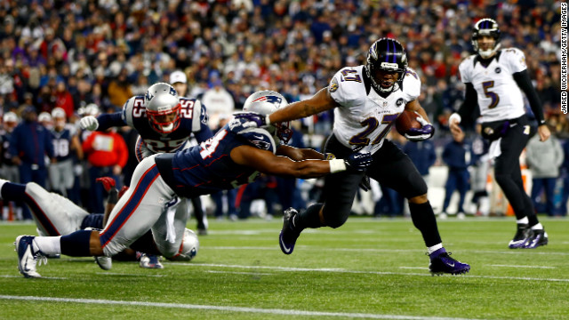 Ray Rice of the Baltimore Ravens scores a touchdown in the second quarter against the New England Patriots during the AFC Championship game at Gillette Stadium in Foxboro, Massachusetts, on Sunday, January 20.