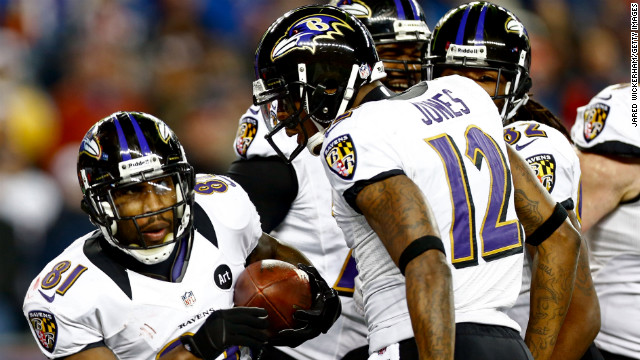 Anquan Boldin of the Baltimore Ravens, left, celebrates with teammate Jacoby Jones after scoring a touchdown. 