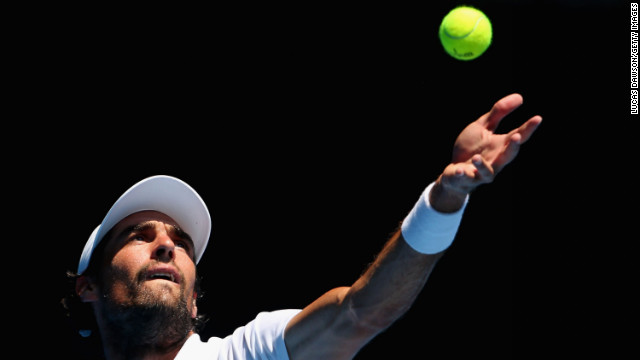 Jeremy Chardy of France serves in his fourth-round match against Italy's Andreas Seppi on January 21. Chardy defeated Seppi 5-7, 6-3, 6-2, 6-2.