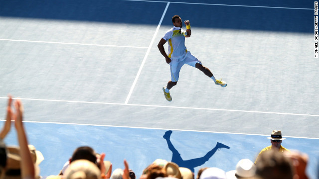 Jo-Wilfried Tsonga of France celebrates winning his fourth-round match against fellow French player Richard Gasquet on January 21. The final score was 6-4, 3-6, 6-3, 6-2.
