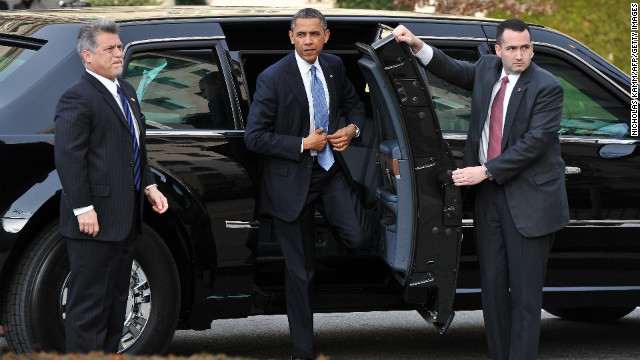 President Barack Obama arrives Monday at St. John's Episcopal Church hours before taking part in a ceremonial swearing-in for his second term. 