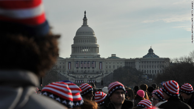 Throngs gather Monday for the inauguration.