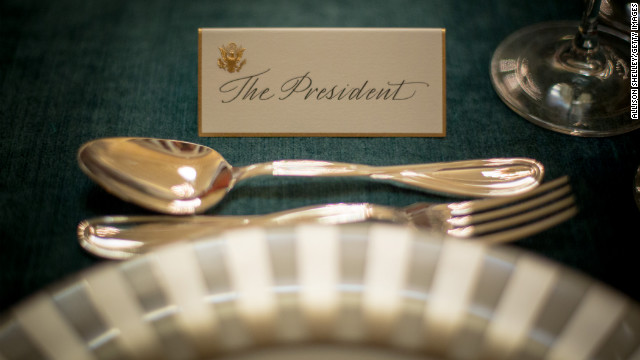 A place card awaits President Barack Obama for Monday's inaugural luncheon in the Capitol's National Statuary Hall.