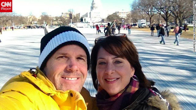 Becky Primeaux said attending an inauguration was high on her bucket list, and &quot;I am extremely excited to check it off.&quot; Primeaux snapped this self-portrait to share the experience with her family in Texas and Louisiana, and uploaded the photo to CNN iReport. 