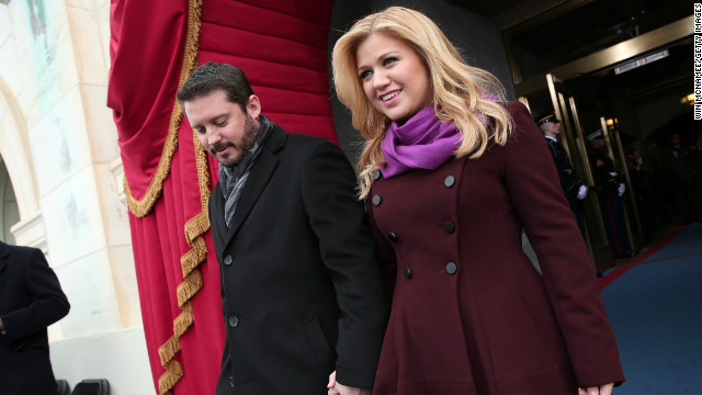 Kelly Clarkson and Brandon Blackstock attend the January 21, 2013 presidential inauguration in Washington, D.C.