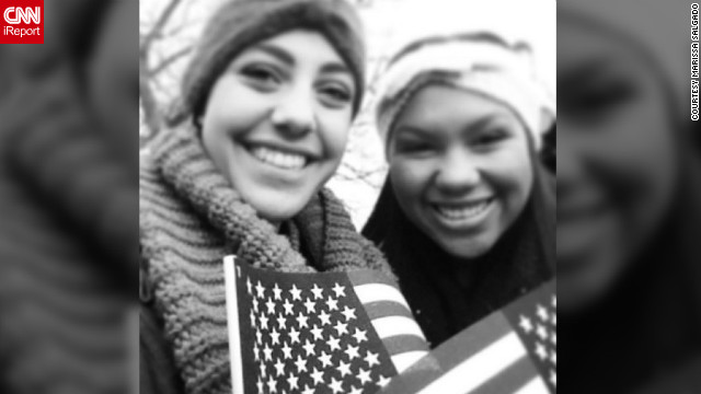 "George Washington University freshmen Marissa Salgado (marissa_salgado), left, and Bethany Thomas (@bethanythomass) were up since 4 a.m. Monday, ""because we were so excited about the inauguration and wanted to make sure we had a great view. It paid off! We were as close as you could get without having tickets."""