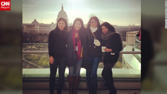 "When Veronica Brown (@idealista23) and her friends reached the rooftop of 101 Constitution Ave., they were awed at the view and the crowd. She attended the inauguration four years ago, and said the second time around was just as meaningful. ""It means so much to me to be able to be here and support President Obama, as a Latina and as a student,"" she said."