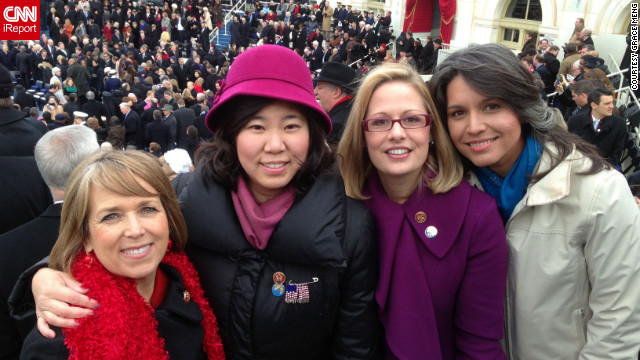 Freshman Congresswoman Grace Meng, D-New York, shared a photo of herself with some of her fellow female freshmen. From left: Rep. Michelle Lujan Grisham, D-New Mexico; Meng; Rep. Kyrsten Sinema, D-Arizona; and Rep. Tulsi Gabbard, D-Hawaii. &quot;It was really emotional for us freshmen,&quot; said Meng, who uploaded this photo to CNN iReport.