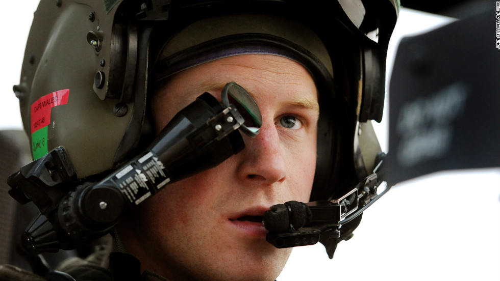 Prince Harry, or Capt. Wales as he is known in the British Army, wears a monocle gun sight as he sits in the front seat of an Apache helicopter on December 12, 2012. Harry was stationed at the British-controlled Camp Bastion in southern Afghanistan from September 2012 until January 2013.