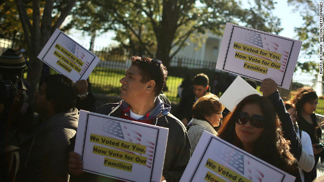 Latinos rally in front of the White House last year, urging Obama to deliver comprehensive immigration reform. 