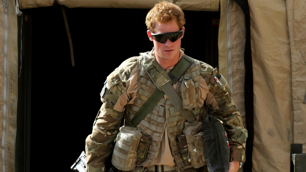 Prince Harry walks around a military base in Helmand province on his recent tour of duty in Afghanistan. His deployment meant he could step back from the public eye and live in contrast to his privileged upbringing.