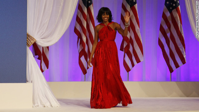 For Inauguration Night, Michelle Obama wore a ruby-colored chiffon and velvet gown by Jason Wu, the same designer who made her 2009 inaugural dress. Known for her continuous support of emerging designers, the first lady essentially made the Taiwanese-born designer a household name in 2009 by wearing his dress.