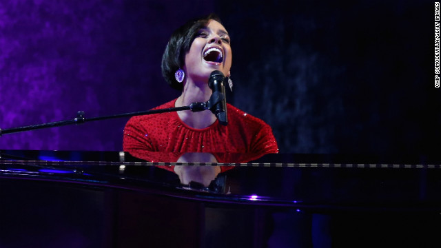 Alicia Keys performs during the Commander-In-Chief's Ball. She sang a twist on her hit song &quot;Girl on Fire,&quot; changing the lyrics to &quot;Obama's on fire.&quot;