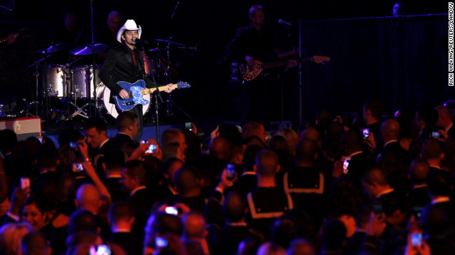 Country singer Brad Paisley performs for members of the military at the Commander-in-Chief's Ball.