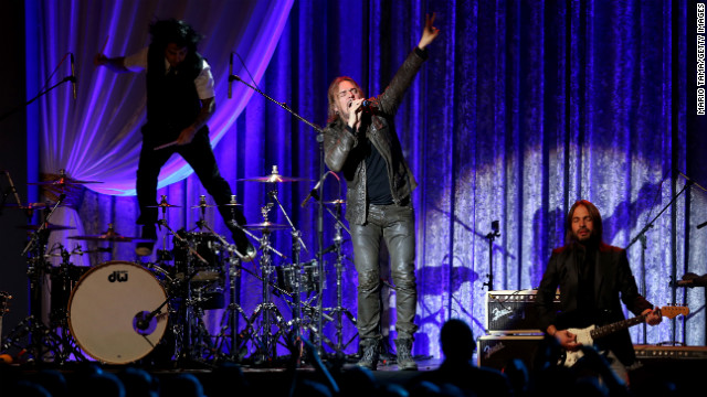 Mexican rock group Mana performs at the Public Inaugural Ball in Washington on Monday.