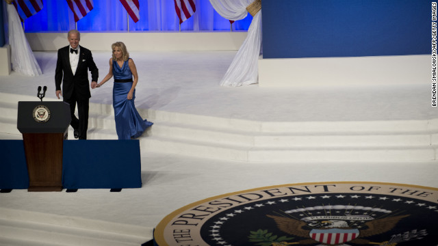 Vice President Joe Biden and Jill Biden take the stage Monday night at the Commander-in-Chief's Ball.