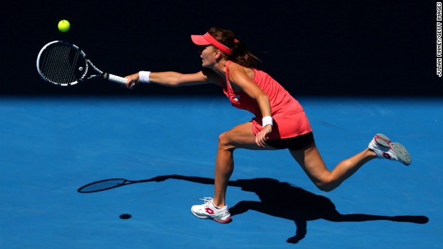 Radwanska stretches for a forehand while playing Li on January 22.