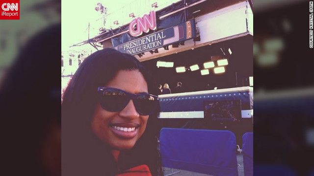 "Graduate student Krystal Smith (@krystalshera) attended the inauguration with her mom. This was their second presidential inauguration, and this time, both were chosen as volunteers for the swearing-in ceremony and the inaugural parade. ""When I saw that CNN was broadcasting live for the presidential inauguration, I jumped at the chance to take a picture right in front of it,"" Smith said."