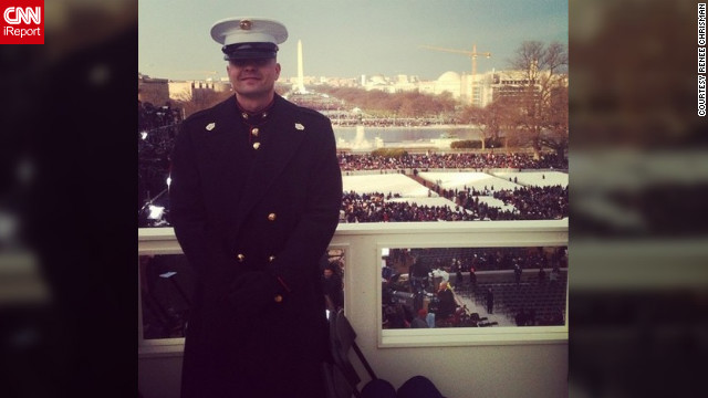 Gunnery Sgt. Bradley Chrisman was chosen to escort inaugural VIPs onto the platform. &quot;It is such an honor,&quot; said his wife, Renee Chrisman (@reneechrisman), who was at home with their children in North Carolina watching the festivities on TV. They caught a glimpse of him standing near the president. 
