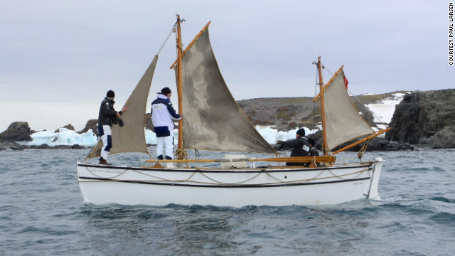 The replica is called the <i>Alexandra Shackleton</i>, named after Ernest Shackleton's granddaughter. Here the crew is seen testing the waters in Admiralty Bay, on the southern coast of Antarctic King George Island.