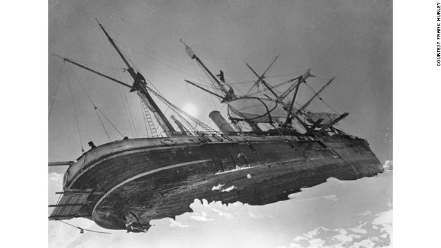 Another original photo shows Shackleton's vast ship <i>Endurance</i> trapped lop-sided in the ice on October 19, 1915.