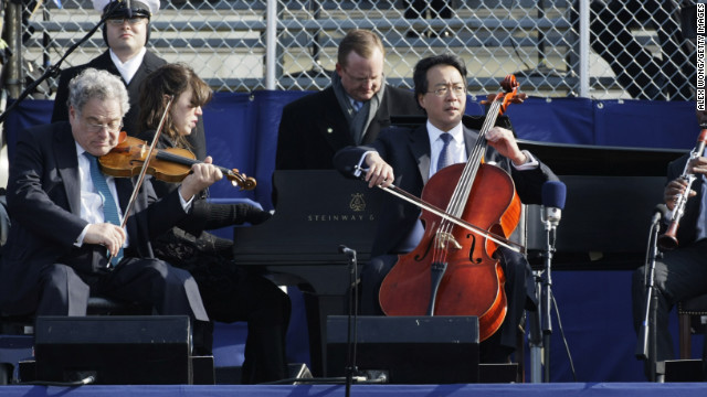 "Cold temperatures forced Cellist Yo-Yo Ma and violinist Itzhak Perlman to mime along to a prerecording during President Barack Obama's first inauguration four years ago. ""I really wanted to do something that was absolutely physically and emotionally and, timing-wise, genuine,"" Ma told <a href='http://www.nytimes.com/2009/01/23/arts/music/23band.html' target='_blank'>The New York Times</a> in 2009. ""We also knew we couldn't have any technical or instrumental malfunction on that occasion. A broken string was not an option. It was wicked cold."""