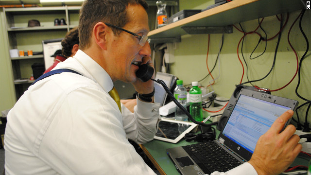 CNN's Richard Quest on the phones in the CNN bunker in Davos for the World Economic Forum.