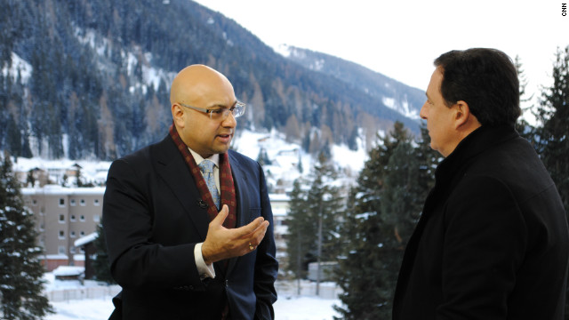 CNN's John Defterios and Ali Velshi in the studio in Davos.