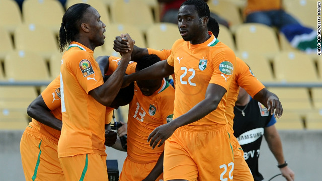 Ivory Coast players celebrate their opening goal during Tuesday's 2-1 win over Togo in Rustenburg.