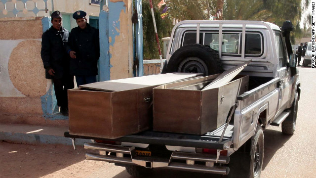 Empty coffins are transported to collect victims at desert gas plant in Algeria on January 21, 2012 in In Amenas.