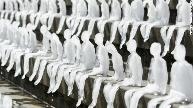 An ice sculpture entitled 'Minimum Monument' by Brazilian artist Nele Azevedo outside Berlin's Concert Hall, September 2, 2009.