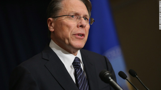 Wayne LaPierre said universal background checks would lead to a gun registry, ultimately empowering the government to