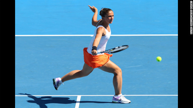 Italy's Sara Errani plays a backhand in her women's doubles quarterfinal match with compatriot Roberta Vinci against Ekaterina Makarova and Elena Vesnina of Russia on January 23. Errani and Vinci won 6-2, 6-4.