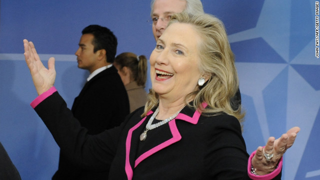 Clinton arrives on December 4, 2012 for a meeting of foreign ministers from the 28 North Atlantic Treaty Organization (NATO) member-countries in Brussels to discuss Syria and Turkey's request for Patriot missiles to be deployed protectively on the Turkish-Syrian border.