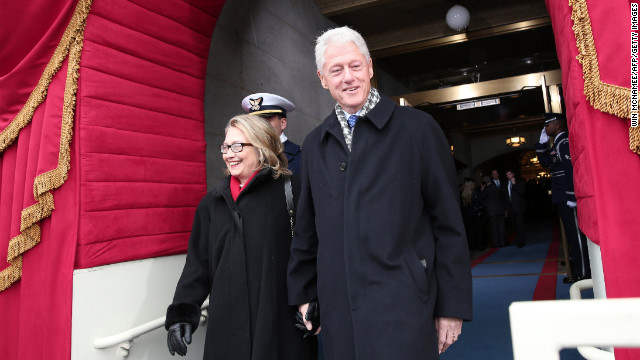 Clinton and her husband arrive for inauguration for President Barack Obama's second term at the U.S. Capitol on January 21.