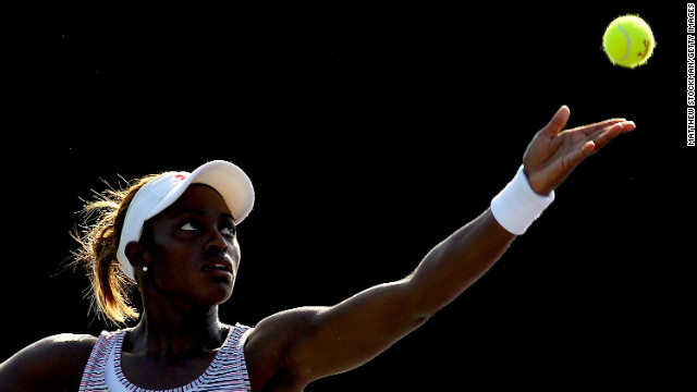 Stephens serves to Sara Errani of Italy during the Sony Ericsson Open in Key Biscayne, Florida, on March 22, 2012.