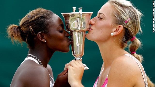During her junior career, Stephens picked up a doubles title at Wimbledon in London on July 4, 2010, with Hungarian teenager Timea Babos.
