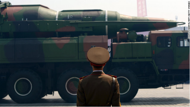 A military vehicle participates in a parade in Pyongyang on April 15, 2012.