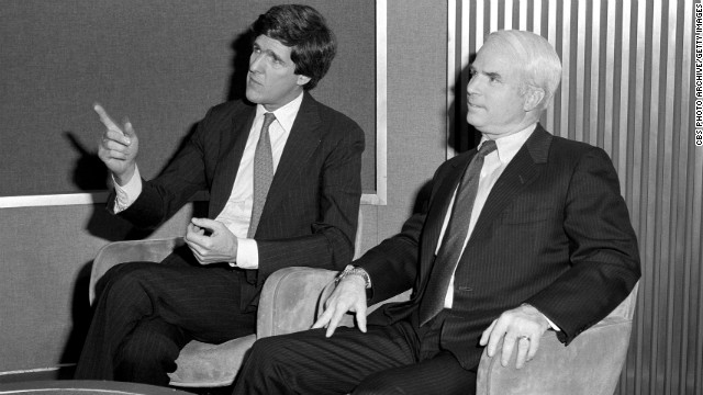 Kerry and Rep. John McCain appear on the TV program &quot;Face The Nation&quot; on April 21, 1985.
