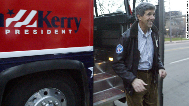 Kerry arrives at Waypoint, a center for women, children and families, during a campaign stop on December 22, 2003, in Cedar Rapids, Iowa.
